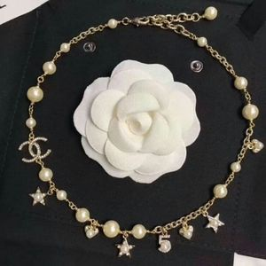 CHANEL GLASS PEARL & STRASS GOLD CRYSTAL NECKLACE